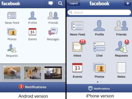 Facebook aplikace pro Android a iPhone