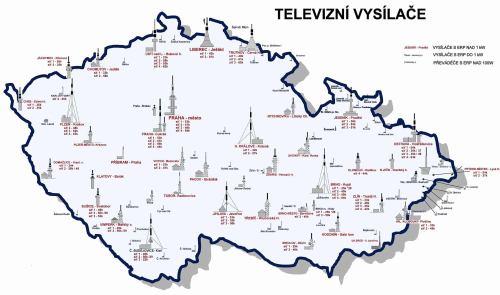 Mapa ČR s DVB-T vysílači a kanály - aktualizovaná k 31.10.2008