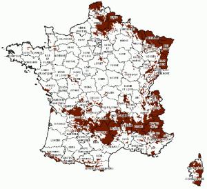 Francie DVB-T nepokryto mapa
