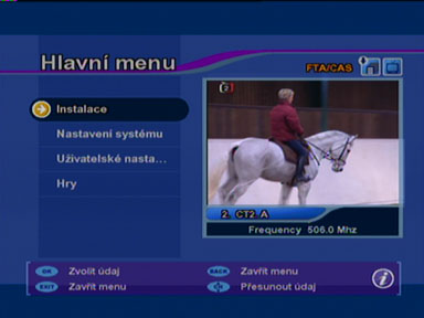 Interstar DVB-T 8100 menu
