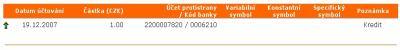 ING Bank, příchozí platba z mBank