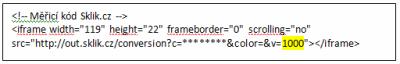Ukázka měřícího kódu Sklik -> žlutě vyznačeno, kam se má nahrát konkrétní hodnota objednávky