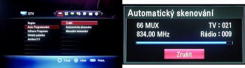 LG MS450H menu ladení a skenu