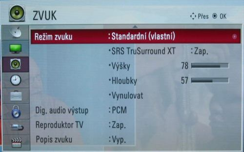 LG 47LD950 menu - zvuk