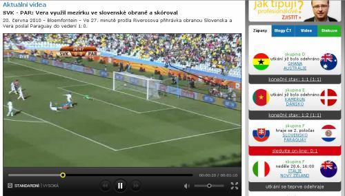 MS fotbal 2010 - web ČT msfotbal.cz archiv gól