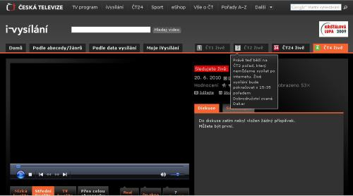 MS fotbal 2010 - web ČT iVysílání.cz blokace ČT 2