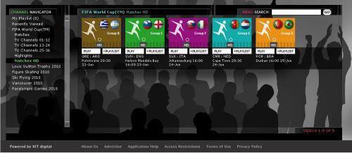 MS fotbal 2010 - web EBU seznam HD streamů