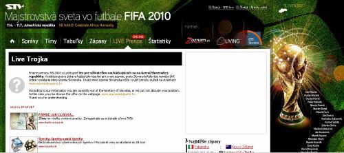 MS fotbal 2010 - web STV speciální stránka k MS stream