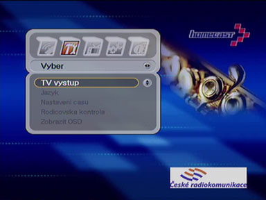 Homecast T3000 menu
