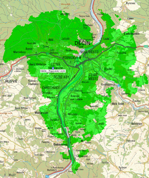 Mux 1 - pokrytí Děčín Popovický vrch