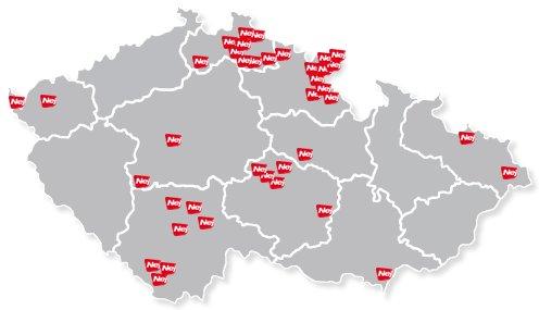 Nej TV - mapa pokrytí ČR 2010