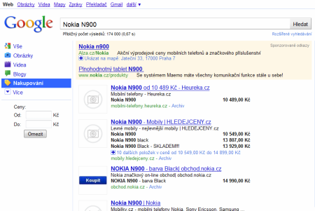 Nokia n900 vyhled Google