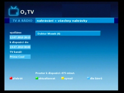 O2TV - nahrané pořady