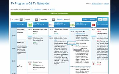 O2TV - nahrávání přes web