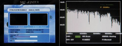 OpenBox SF-30 vyhled kanalu a spektr
