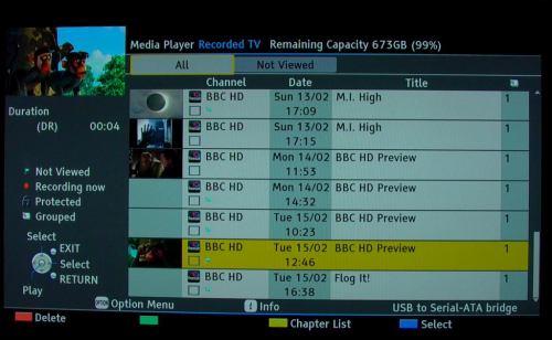 Panasonic 2011 - nahrávání - přehled pořadů