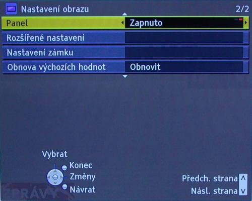 Panasonic TX-L42D25 menu vypnutí panelu