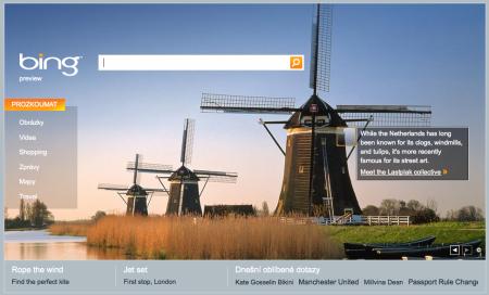 Bing.com se zvýrazněnou oblastí informace z fotografie