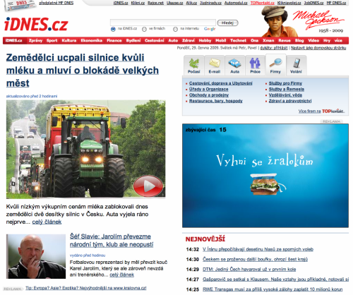 iDNES v nové verzi homepage 6/2009