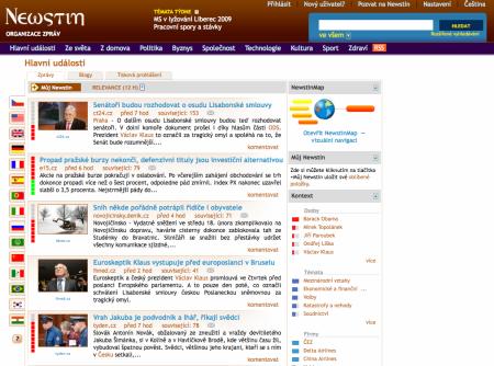 Newstin homepage