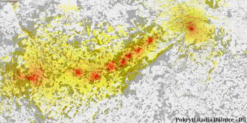 Rádio Dálnice - mapa pokrytí podél D5