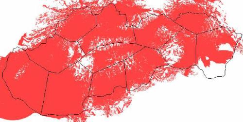Mux 1 Slovensko - mapa pokrytí k 31.3.2010