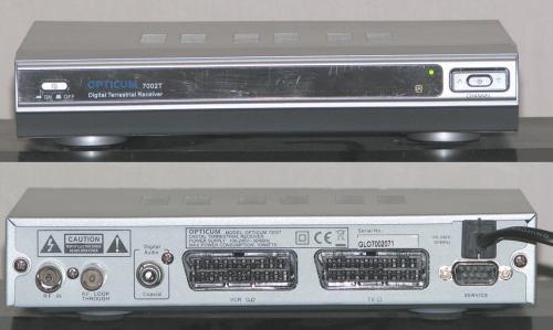 Opticum 7002T - přední panel