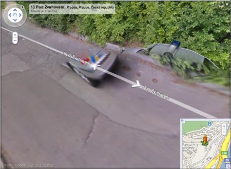Google Street View rozdvojená policie