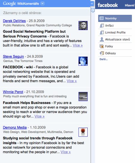 Sidewiki u facebooku