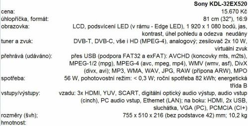 Sony KDL-32EX520 parametry
