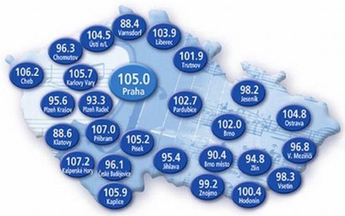 ČRo 3 - Vltava - kmitočty -  mapa, prosinec 2011