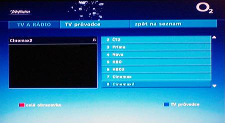 O2 TV vyber programu