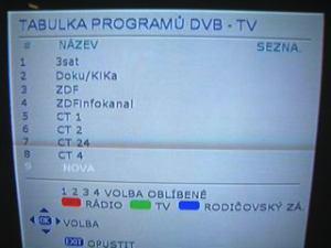 Sencor STV 2112DVBT - seznam stanic