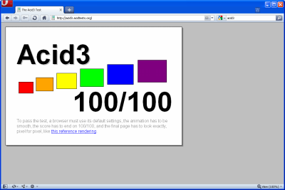Opera 10.50 Beta 2 - ACID 3