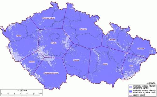 Analog ČT 1 - pokrytí ČR k 15.9.2008