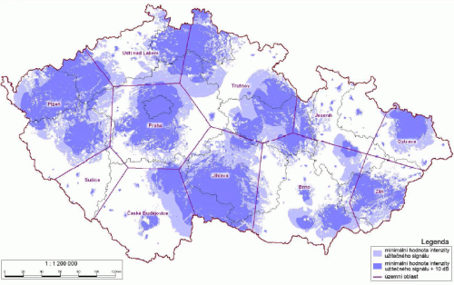 Analog Prima - pokrytí ČR k 15.9.2008