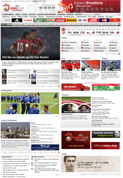 EURO 2008 home page