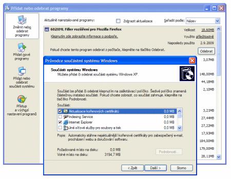 odinstalování aktualizace kořenových certifikátů