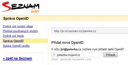 přiřazení účtu k OpenID