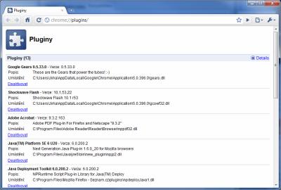 Chrome 5 Beta - plug-iny