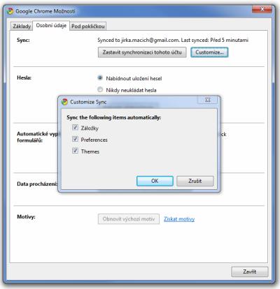 Chrome 5 - synchronizace