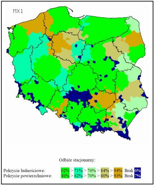 Polsko MUX 1 mapka