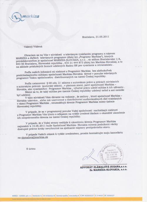 TV Markíza - dopis českým operátorům, 31.5.2011