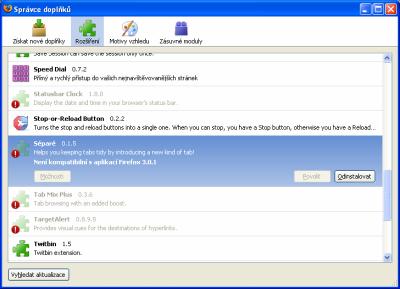 Firefox - nekompatibilní rozšířeni