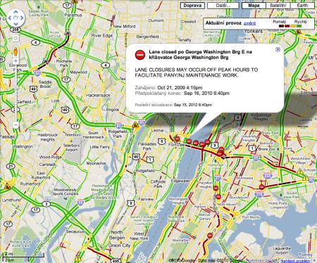 Google Maps a doprava v New Yorku