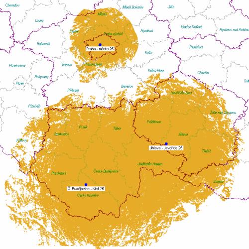DVB-T2 - pokrytí ČR k 1.8.2011