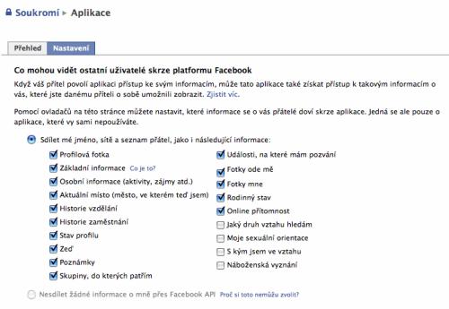 Facebook: implicitní nastavení aplikací