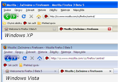 Firefox 3 - XP vs. Vista