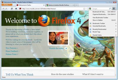 Firefox 4.0 Beta 1: tlačítko se záložkami