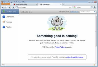 Firefox 4.0 Beta 1: získání doplňků